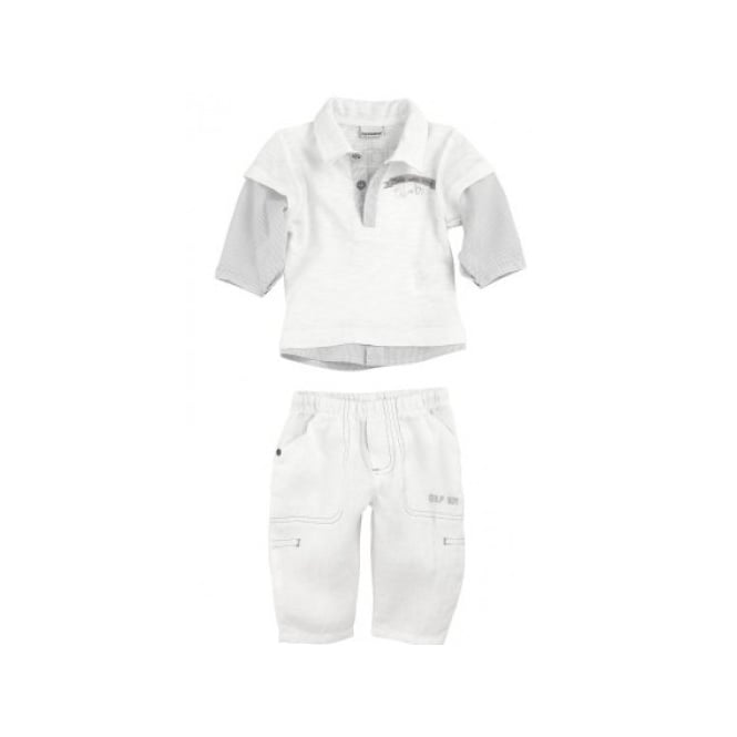 3 Pommes Baby Boy White Polo and Trouser Set