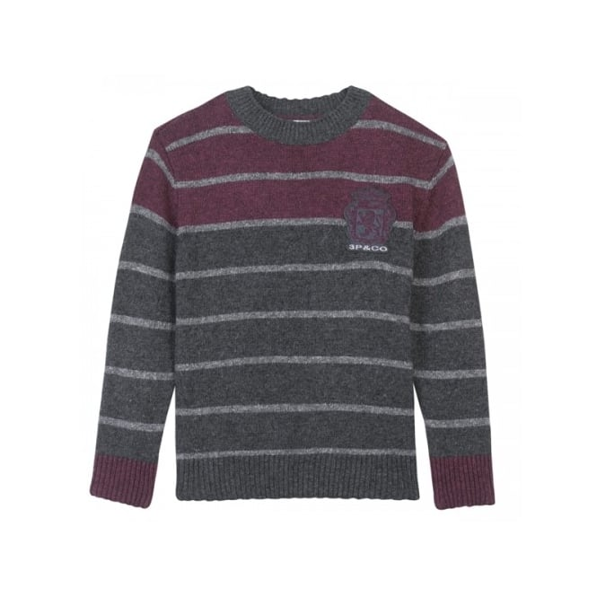 3 Pommes Boys Dark Grey with Maroon Knitted Jumper