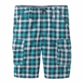 Boys Turquoise Check Shorts