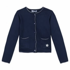 Girls Classic Cardigan in Navy