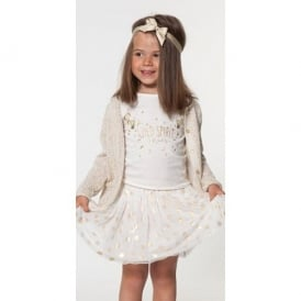 Girls Ivory and Gold T-shirt and Skirt Set