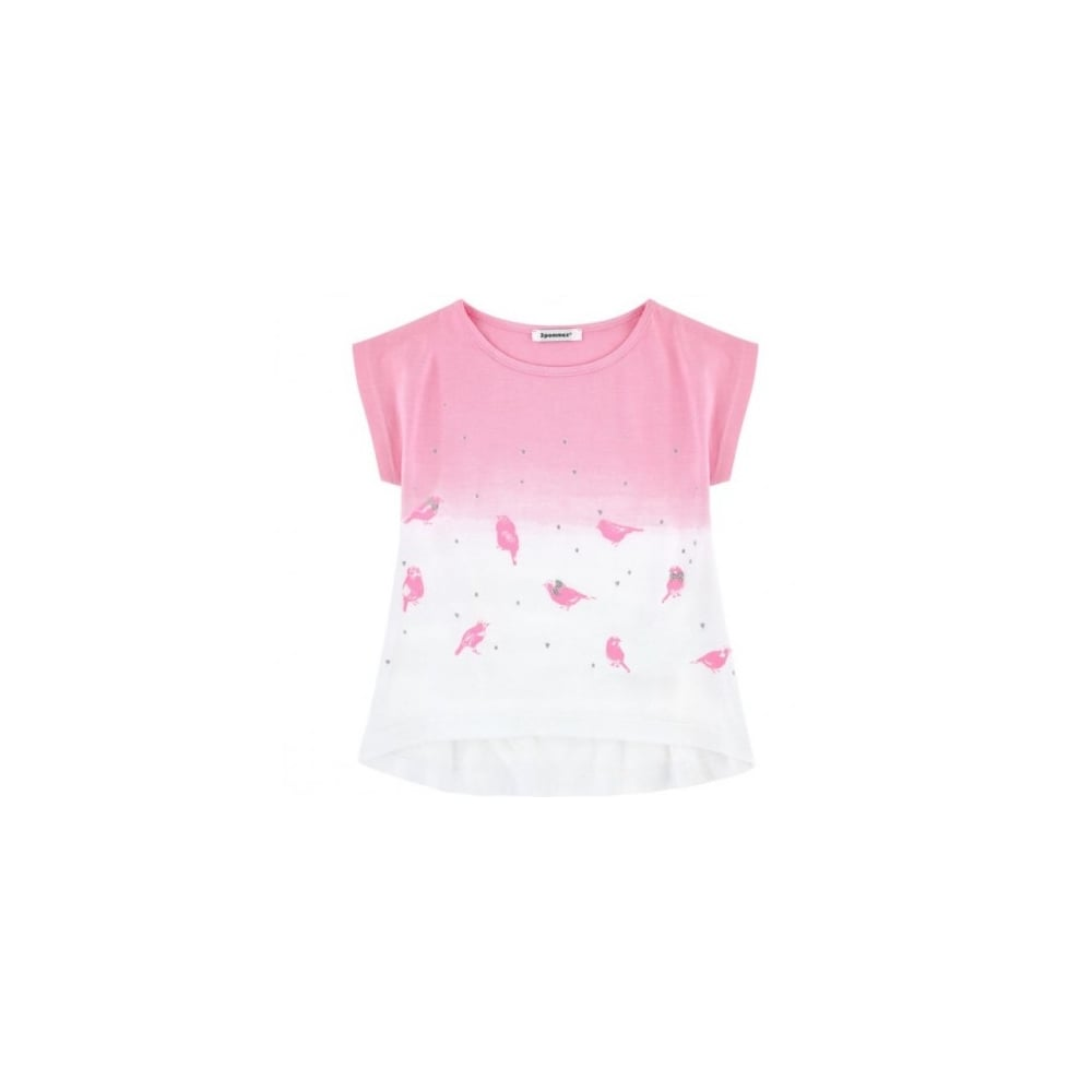 8f122003d 3-Pommes-Girls-Pink-and-White-Printed-T-shirt