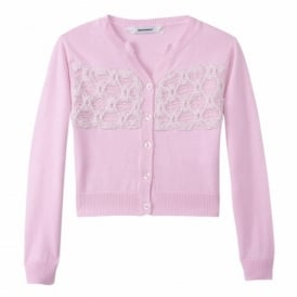 Girls Pink Crochet Detail Cardigan
