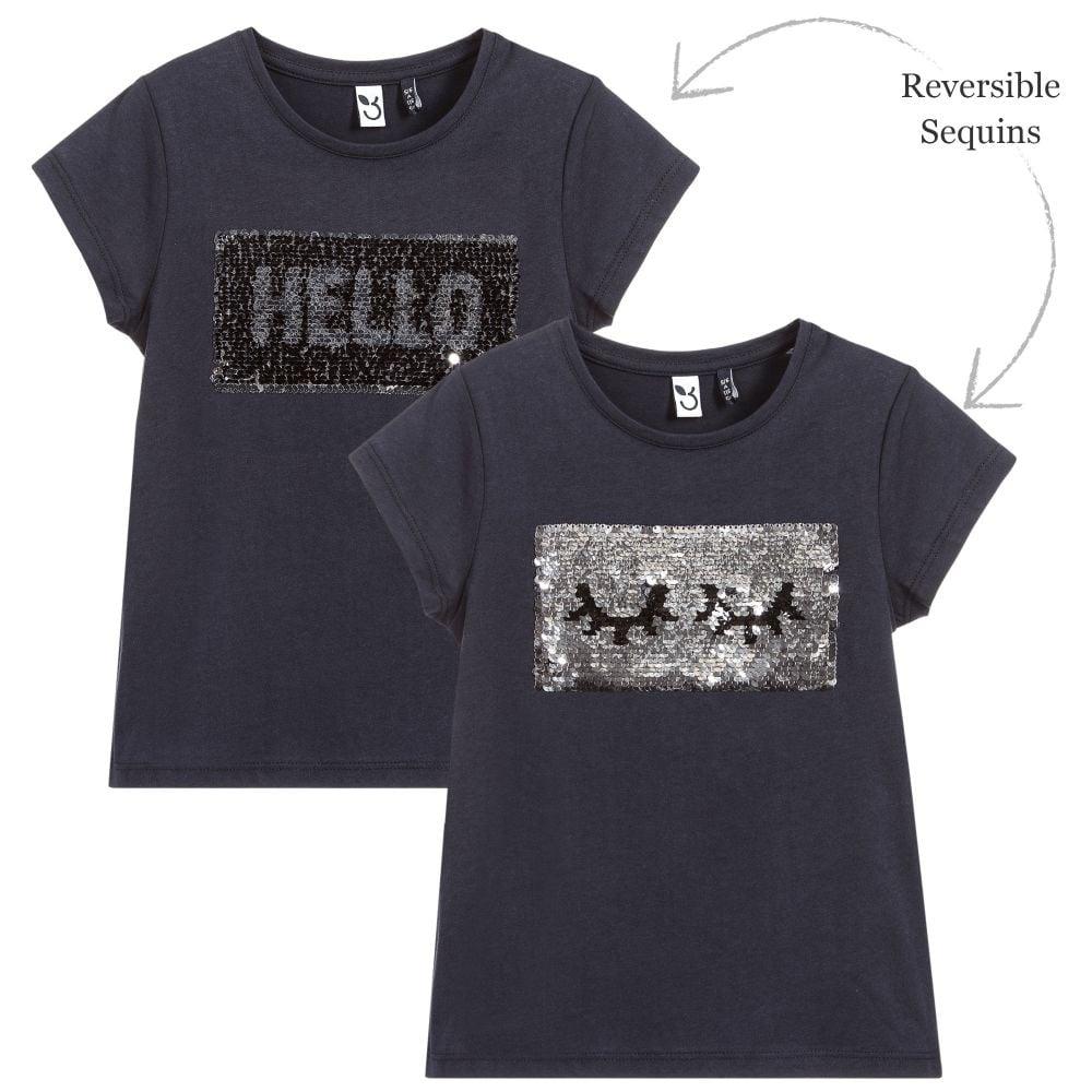 3 pommes girls reversible sequins t shirt 3l10914. Black Bedroom Furniture Sets. Home Design Ideas