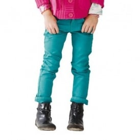 Girls Slim Fit Turquoise Jeans
