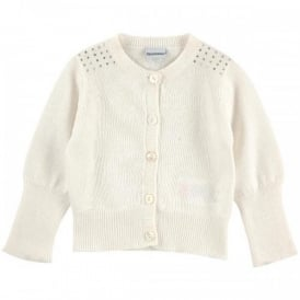 Mini Girl Ivory Cardigan with Rhinestones