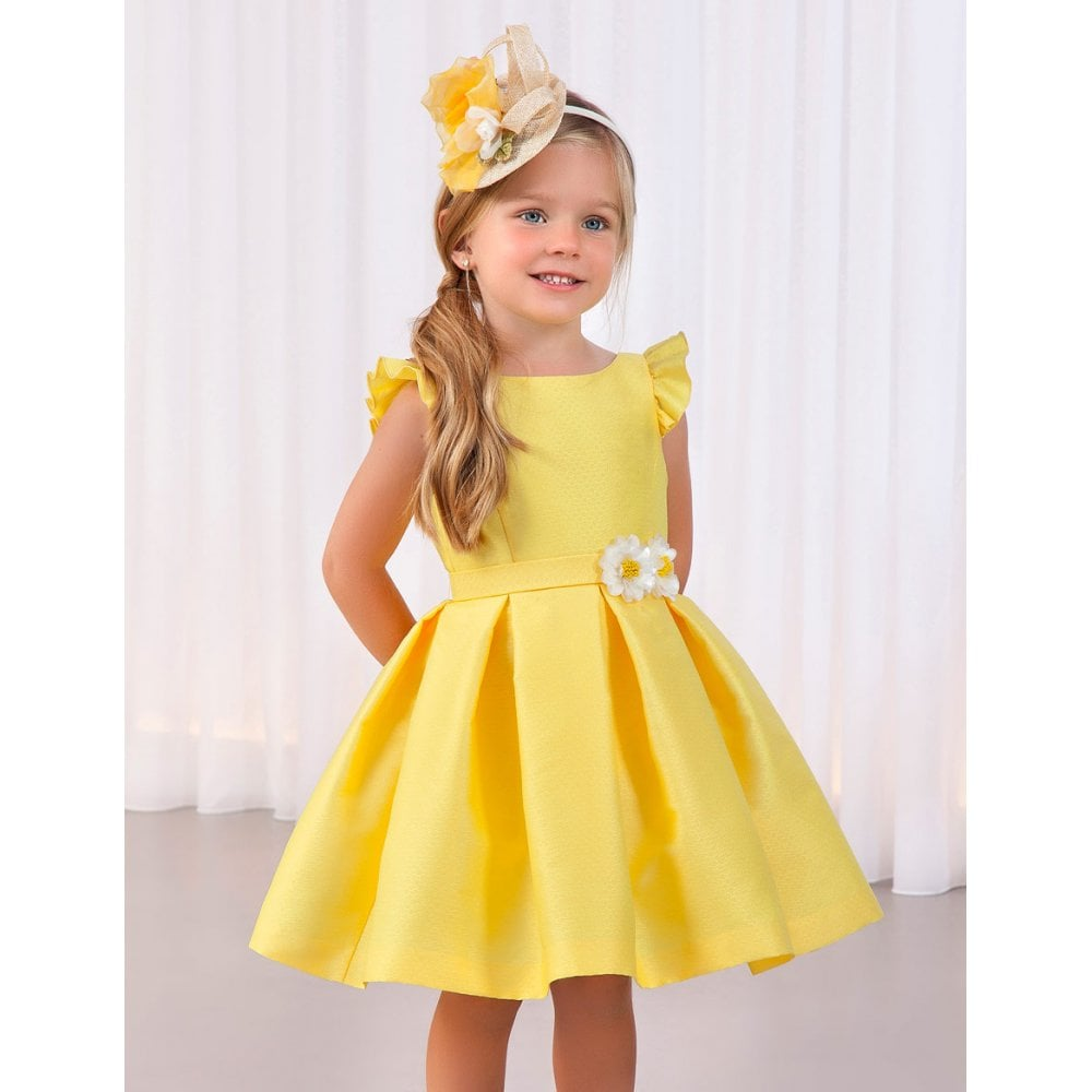 Abel & Lula Girls Yellow Jacquard Dress