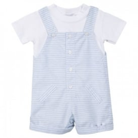 Baby Boy Blue Striped 2 Piece Dungaree Shorts Set