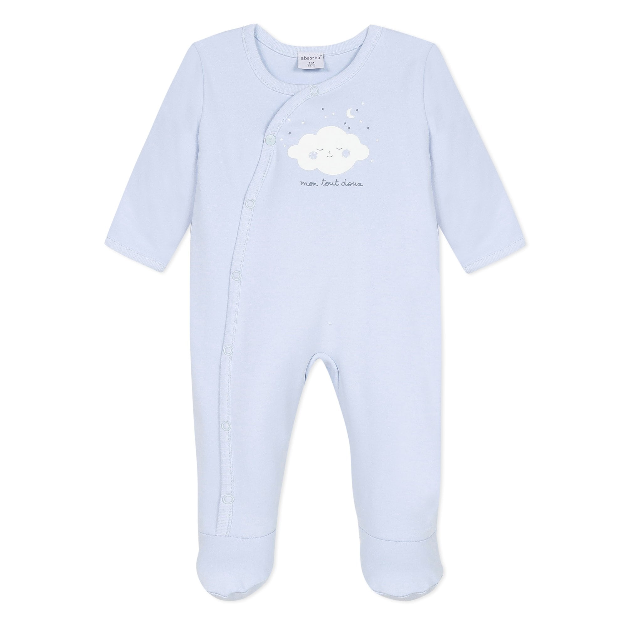 Mintini Baby Boy Romper Two Piece White//Sky Sizes 1,6 Or 9 Months Available