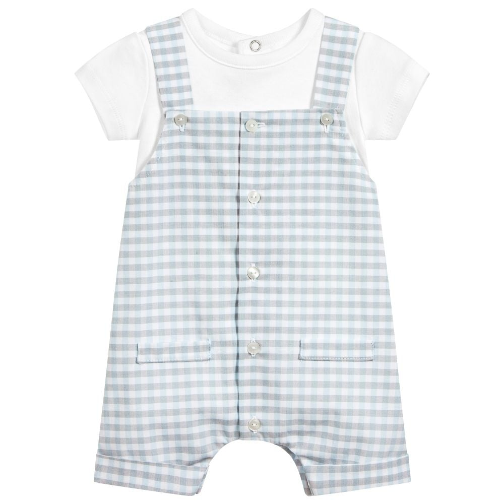44f63b15d24b Absorba-Baby-Boy-Gingham-Dungaree-Set