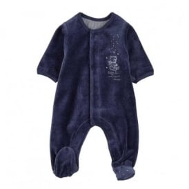 Baby Boy Navy Velour All in One Sleepsuit