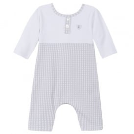 Baby Boy Pale Blue and White Romper