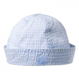 Baby Boy Pale Blue Check Sunhat