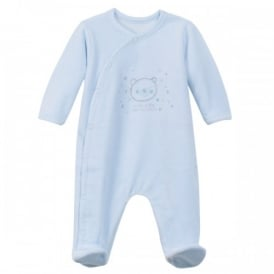 Baby Boy Pale Blue Velour All in One Sleepsuit