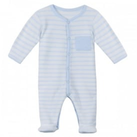 Baby Boy Velour Sleepsuit in Pale Blue and Ivory