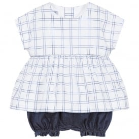 Baby Girl Blue Print Blouse and Shorts Set