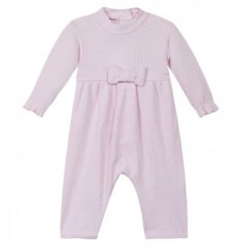 Baby Girl Pale Pink Bow Romper