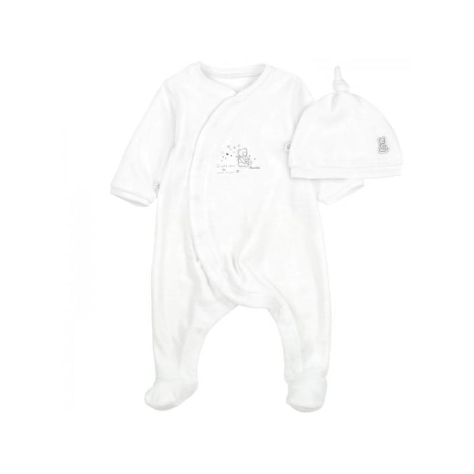 bf07c7915 Baby Unisex Sleepsuit and Hat Set in White