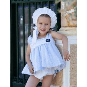 695219b64 Baby Girls Pale Blue Dress, Knickers and Bonnet