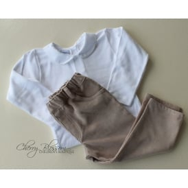 Baby Boy Beige Corduroy Trousers and Body Set