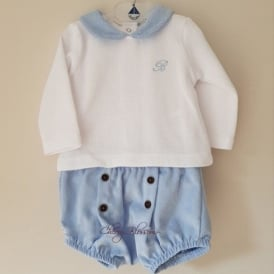 Baby Boy Blue Corduroy Shorts and Top Outfit
