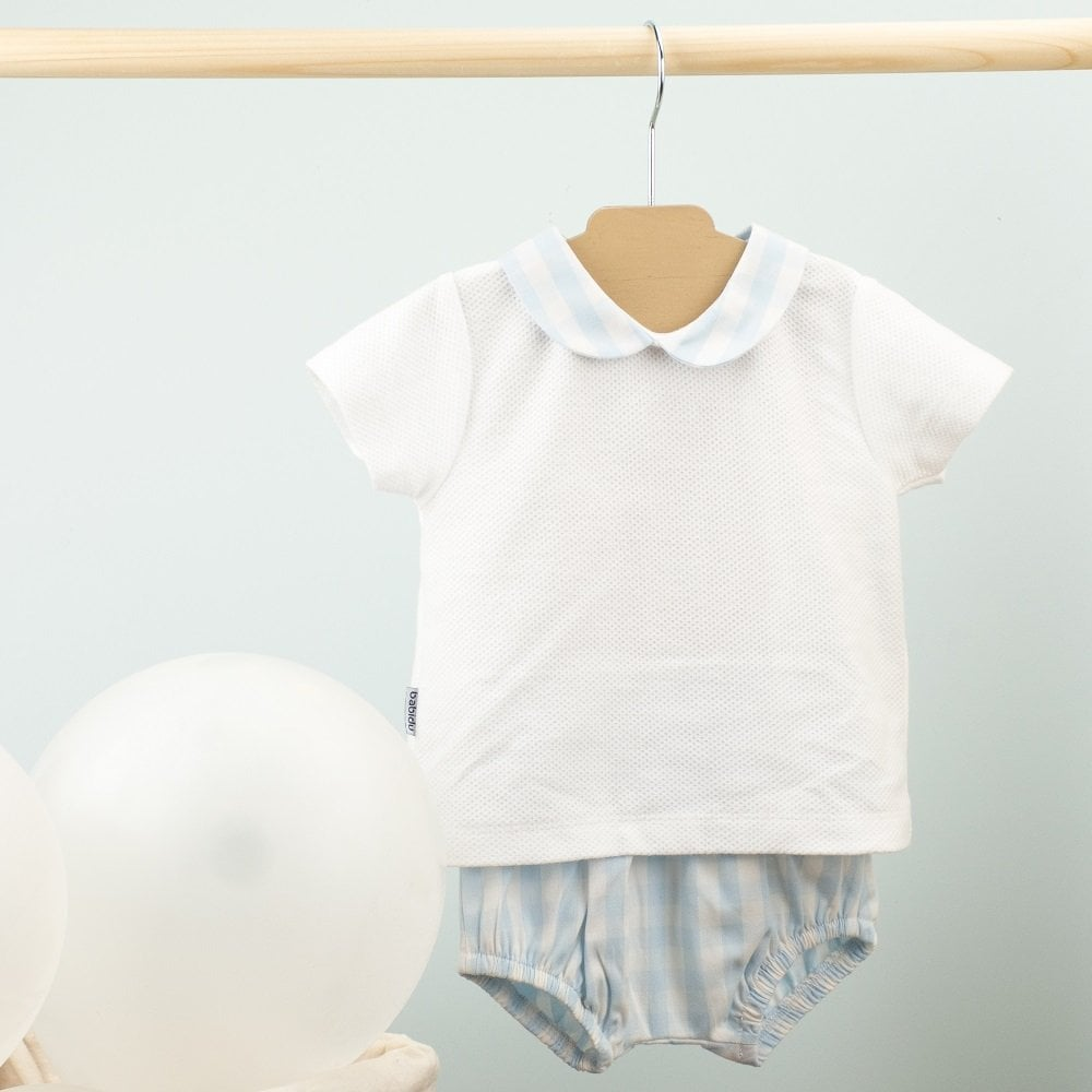 6-12 months only Baby Blue Checked  Shortie by Spanish Brand Babidu