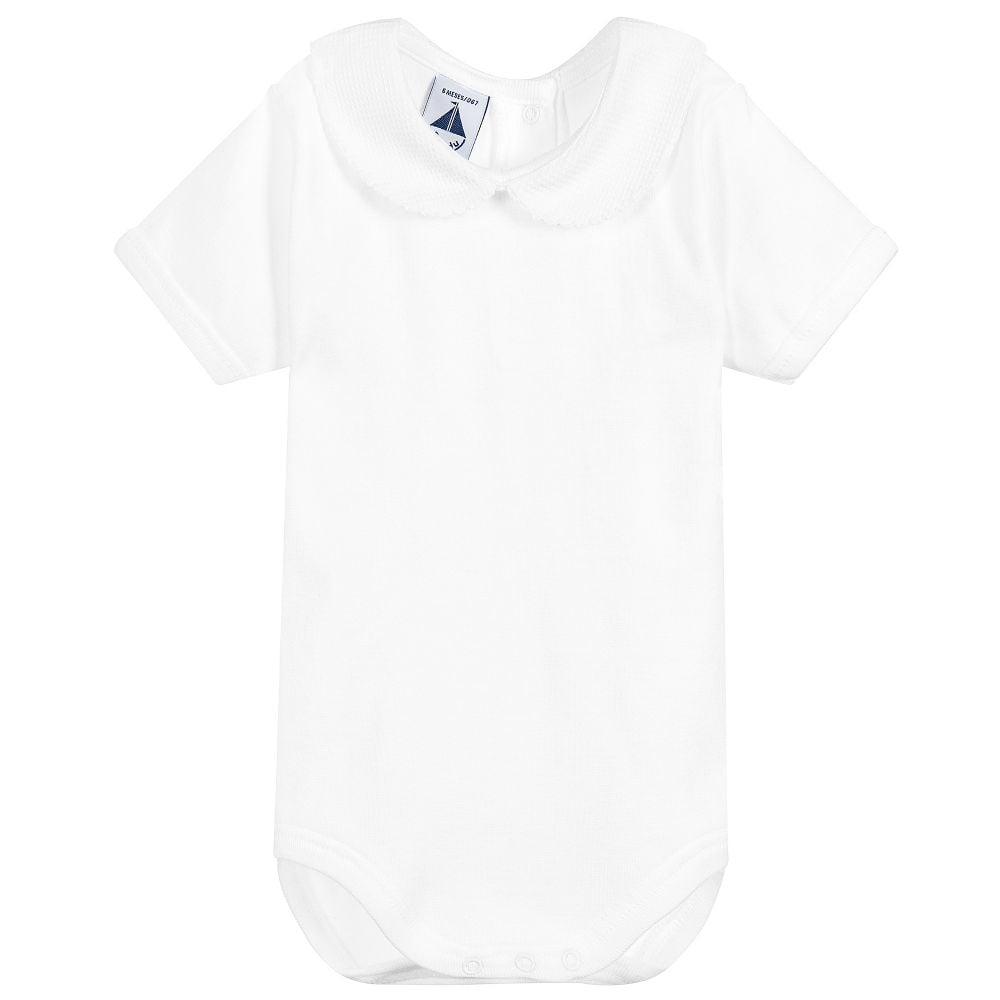 693286197d45 Babidu-Pale-White-Peter-Pan-Collar-Short-Sleeve-Bodysuit