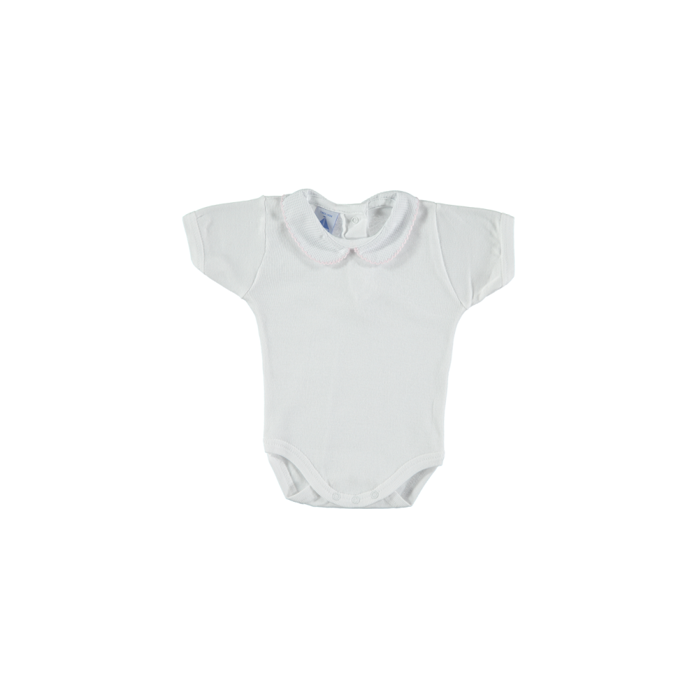 2b54573765 Baby Peter Pan Collar Short Sleeve Bodysuit in White with Pale Pink Trim