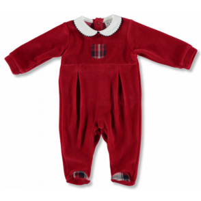 Baby Red Velour Romper with Tartan Detail