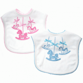 Baby Carousel Pony Bib in Blue or Pink