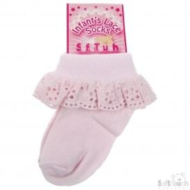 Baby Girl Pink Broderie Anglaise Sock