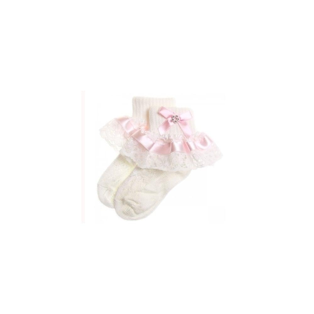 845290afa Baby-Girl-Pink-Ribbon-Lace-Diamante-Bow-Frilly-Socks