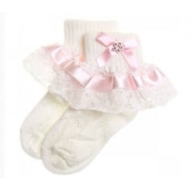 Baby Girl Pink Ribbon Lace Diamante Bow Frilly Socks