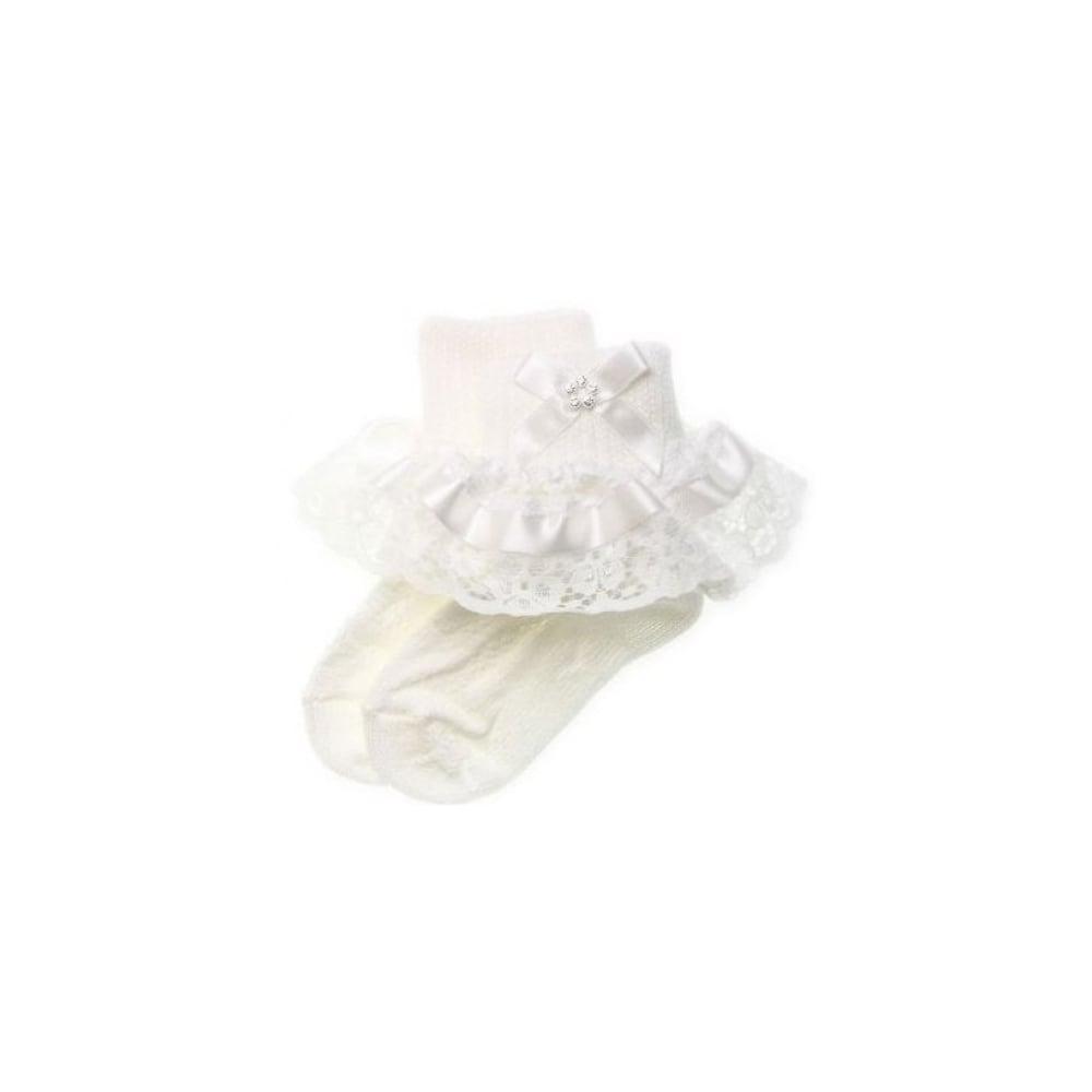 44b8b015881 Baby-Girl-White-Ribbon-Lace-Diamante-Bow-Frilly-Socks