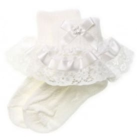Baby Girl White Ribbon Lace Diamante Bow Frilly Socks