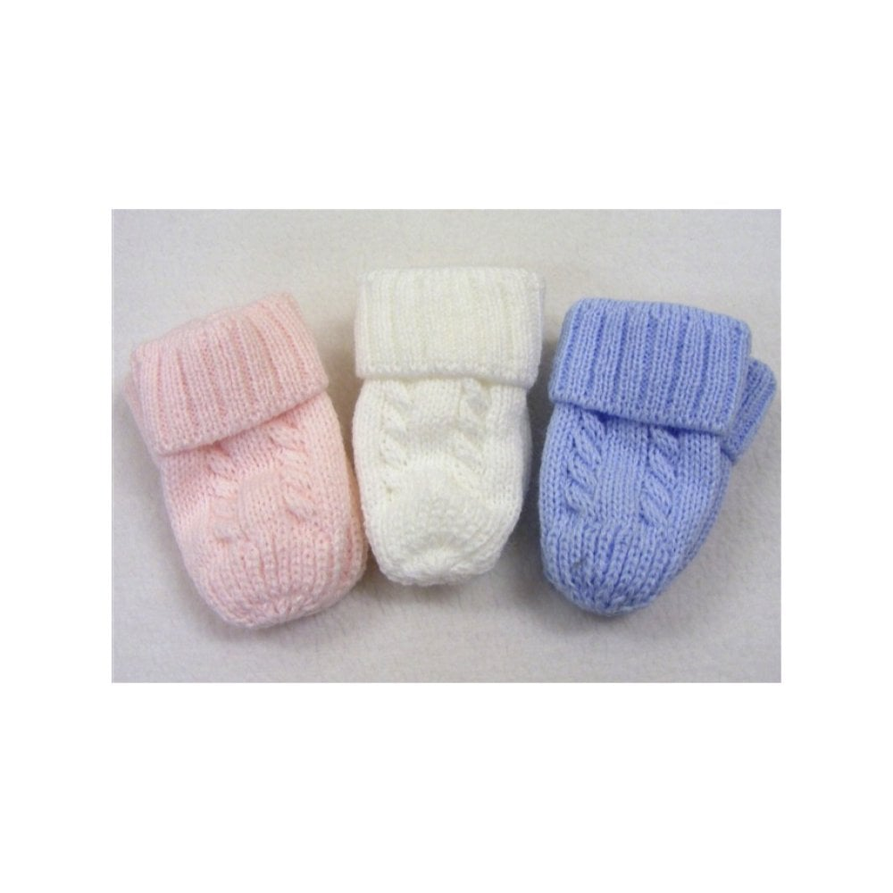 e6ebf2223 Baby Mittens in White and Blue