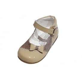 Camel Glitter Mary Jane with Bow