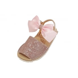 Pale Pink Glitter Shiny Bow Sandals