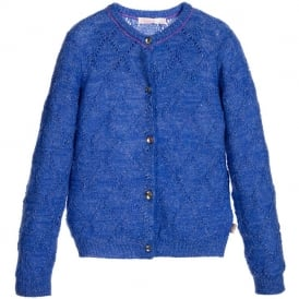 Girls Blue Knit Cardigan