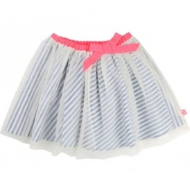 Girls Blue Stripe Tulle Skirt