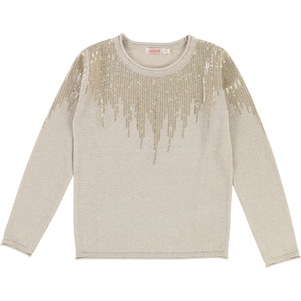 5d48f1a8d0 Girls Ivory and Gold Cotton Knit Jumper