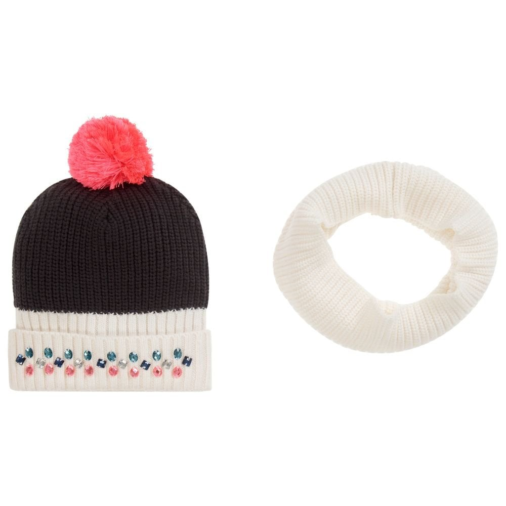 9fea55b6fd3 Billieblush-Girls-Ivory-Navy-Knitted-Hat-and-Snood