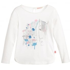 Girls Long Sleeved T-shirt with Horse Print