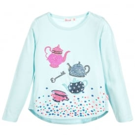 Girls Mint Blue Long Sleeved T-shirt