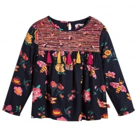 Girls Navy Blouse with Butterfly and Bee Print