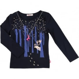 Girls Navy Forest T-shirt and Necklace