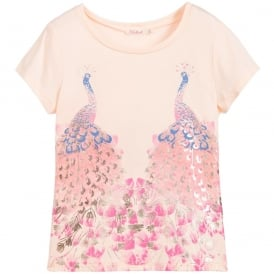 Girls Pink Peacock T-Shirt