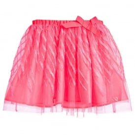 Girls Pink Tulle Skirt with Sequins