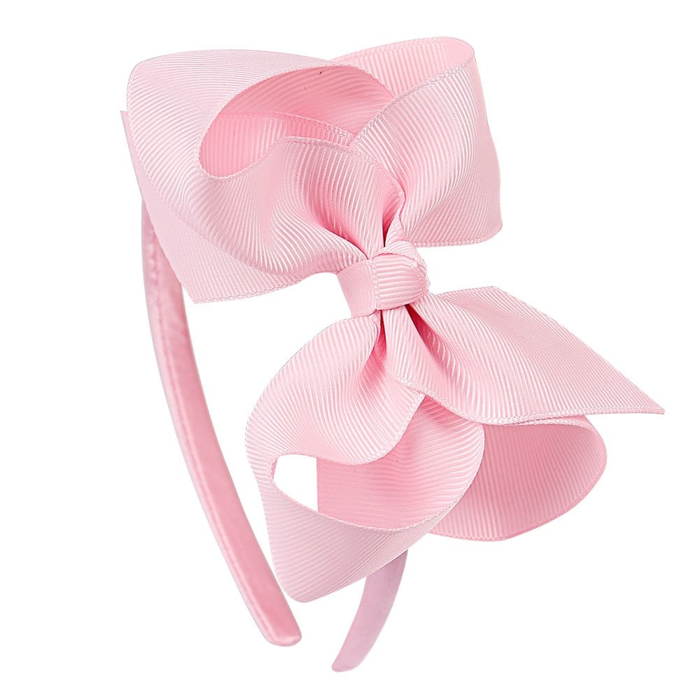 Large Grosgrain Bow Hair Band - Pale Pink 9640cff52e1