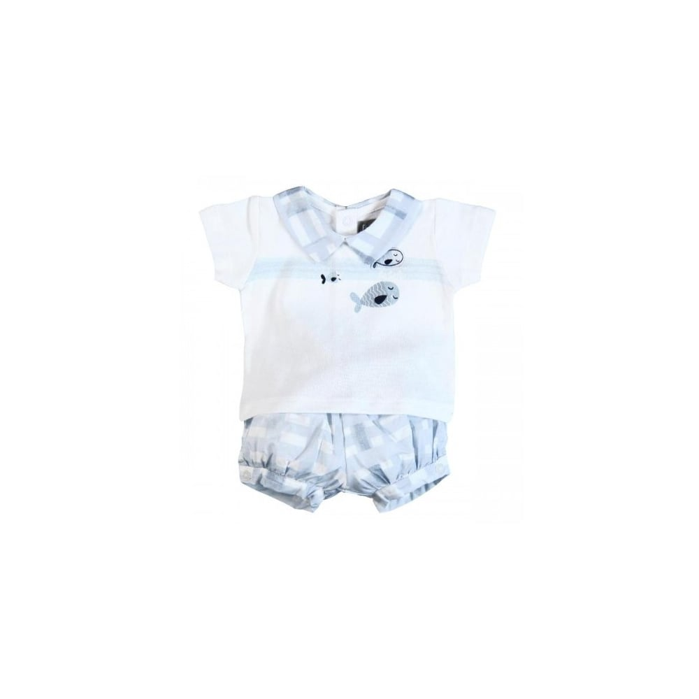 Boboli Baby Toddler Boy Pale Blue Cotton Shorts And Top Set